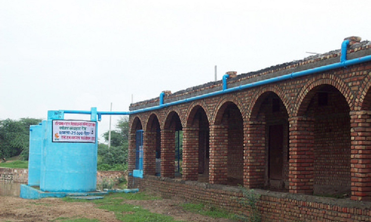 Roof RWH system at Patkhori High School in Mewat